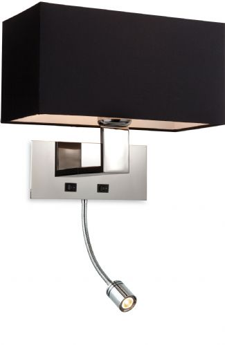 Firstlight 8608BK Polished St/Steel with Black Shade Prince 2 Light Wall (Switched)